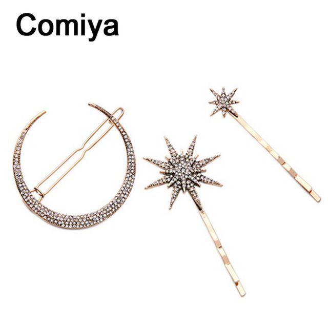 Comiya луна звезда форма позолоченные аксессуары для волос заколки для женщин блестящие украшения бижутерии femme очаровательный aliexpress