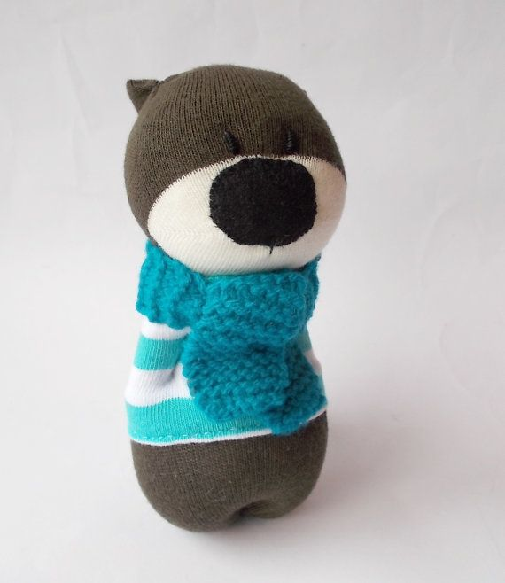 sock bear toy bear blue bear sock animal sock by TreacherCreatures