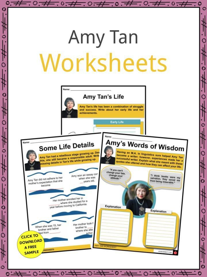 Amy Tan Fact Worksheet The Joy Luck Club Essay Contest Bestselling Books Discussion Question Theme