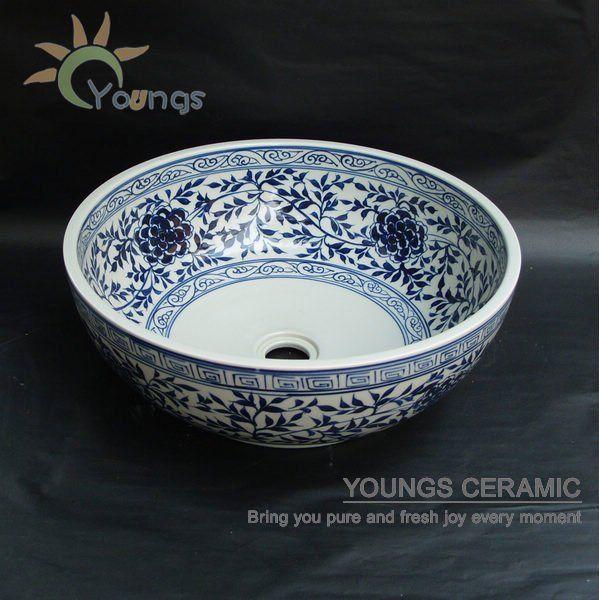 Hand Bemalte Keramik Blau Weiss Orientalischen Porzellan Waschbecken