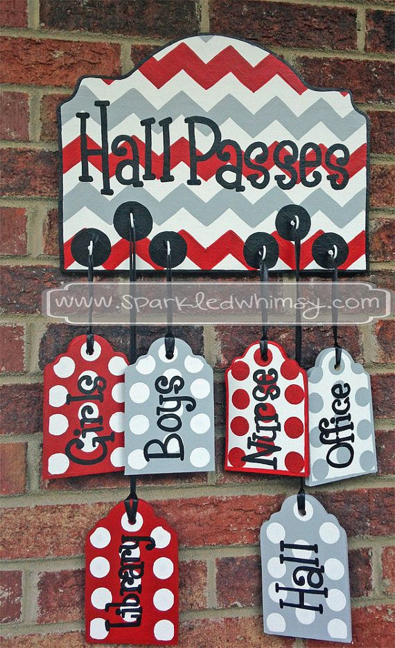 Hall Passes Sign for Classroom: 6 wood tags