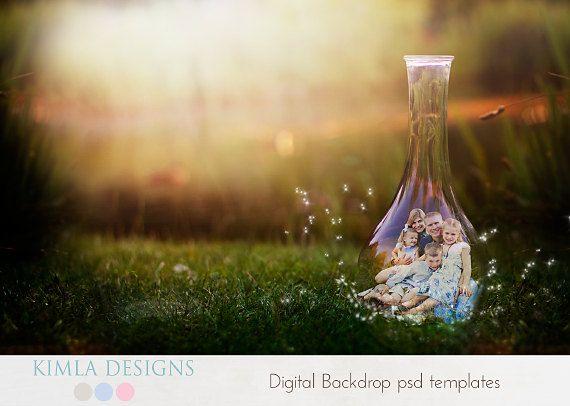 Digital Backdrop Little Fairy psd template by KimlaDesigns on Etsy