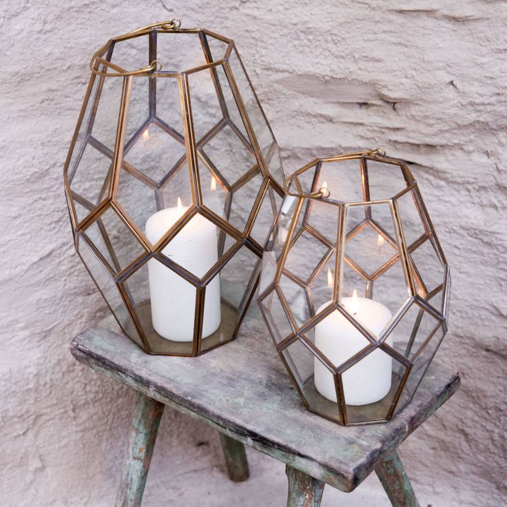 Geometric Brass Lantern. Each of our geometric lanterns have been handmade from brass that has been welded to fit each window of glass.