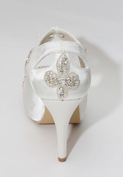 """""""Fleur"""" Embellished Bridal Peep Toe Platform Boot"""
