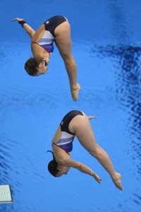 Britain's Alicia Blagg and Rebecca Gallantree dive during the women's synch
