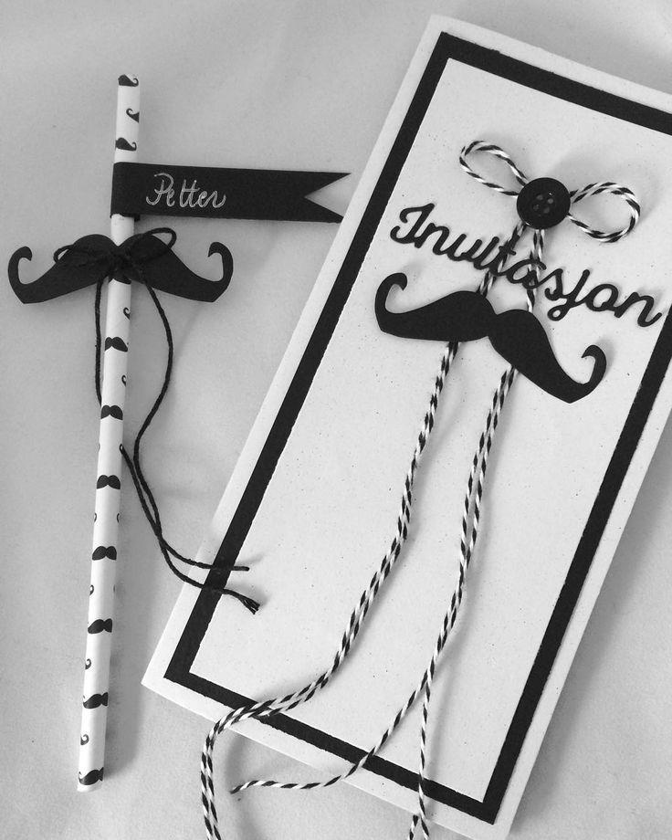 Invitasjon og bordkort #handmade #madebyme #mustache #paperstraw #papirsugerør