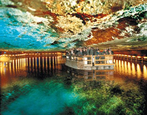 Salzburg salt mines.  It pretty much is this colorful, aaand you get to go down some wood slides  :)