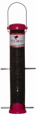 15 in. Red Bird Lovers Nyjer. I have a real tough tubing (its UV stabilized polycarbonate) Use Nyjer seed to attract goldfinches , purple finches, pine siskins, red polls, chickadeesm and lots more. #birdlovers #nyjer #birdfeeder #tubefeeder