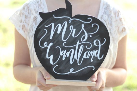 Our Apple Chalkboard Sign makes a perfect teacher gift or classroom decor.