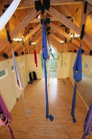 aerial silks studio. i want one in my house... but with less silks and add some stripper poles