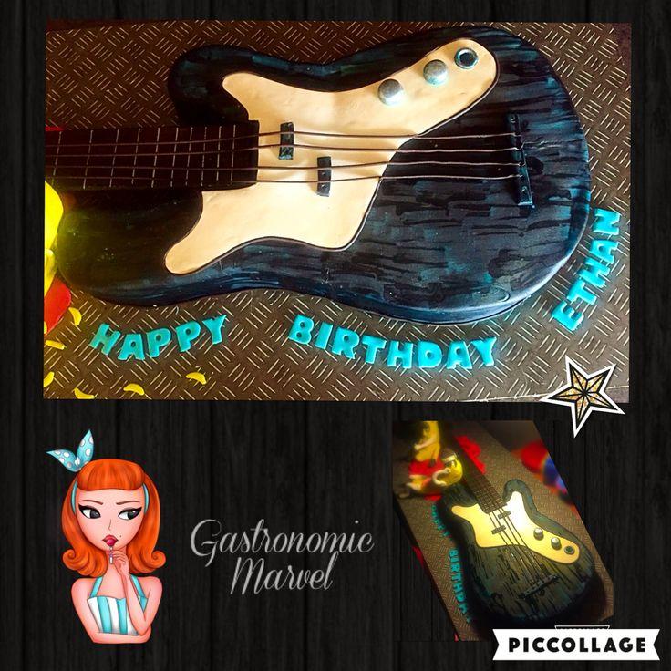 Guitar cake  Banana cake with vanilla buttercream and ganache