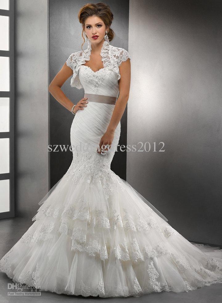 Lovely  Best Selling Elegant Sweetheart White Cheap Wedding Dresses Gown Mermaid Applique Bridal Dress