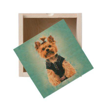 Watercolor art Yorkshire Terrier Wooden Keepsake Box - watercolor gifts style unique ideas diy