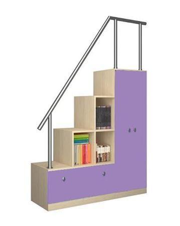 РВ мебель дуб молочный/фиолетовый  — 6950р. -------------------- Лестница-стеллаж дуб молочный/фиолетовый РВ мебель отличается прекрасным качеством и продуманной до мелочей конструкции. Она подходит для двухэтажных кроватей, кроватей-чердаков и отлично смотрится в различных комбинациях модульных детских комнат от компа...