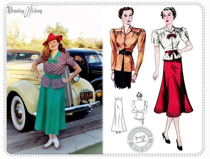 Oberteile & Jacken - Schnittmuster 1930er Bluse mit Schößchen und Rock - ein Designerstück von Poppy_Ray bei DaWanda