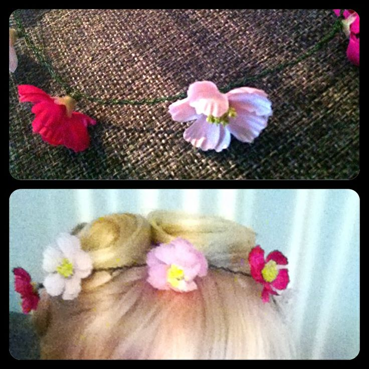 Flowers in my hair. Made from metalwire for flowerarrangements and pink flowers made of plastic and fabric.