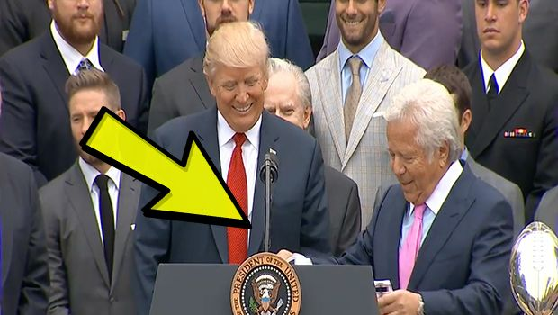 Right after Patriot's owner Robert Kraft, and Patriot's coach Bill Belichick spoke, they presented Trump with a surprise...