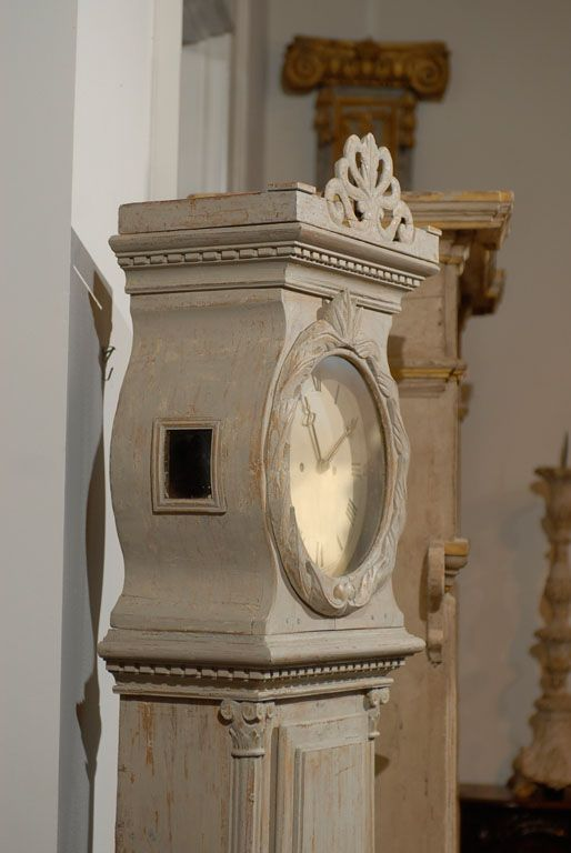 Gustavian Style - A Higher End looking Swedish style (vs Scandinavian Country Style). 18th Century Swedish Painted Scandinavian Clock