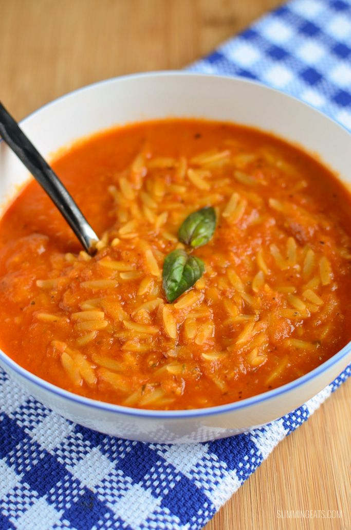 Slimming Eats Creamy Tomato Orzo Soup - dairy free, vegetarian, Slimming World and Weight Watchers friendly