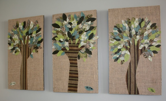 Mod Podged Hand Trees using scrap fabric from At Second Street
