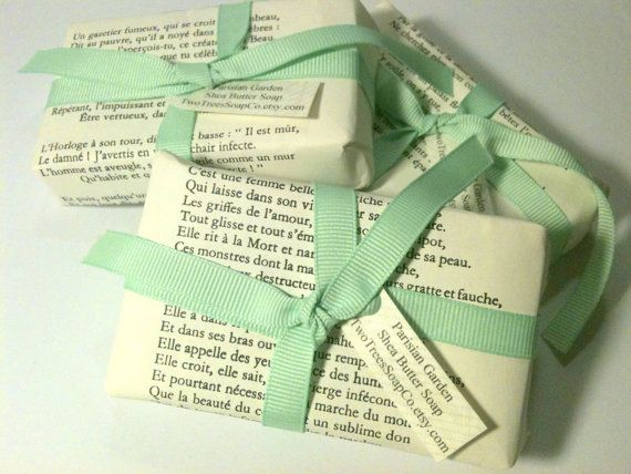 Parisian Garden Soap wrapped in french poetry and tied with a mint ribbon <3