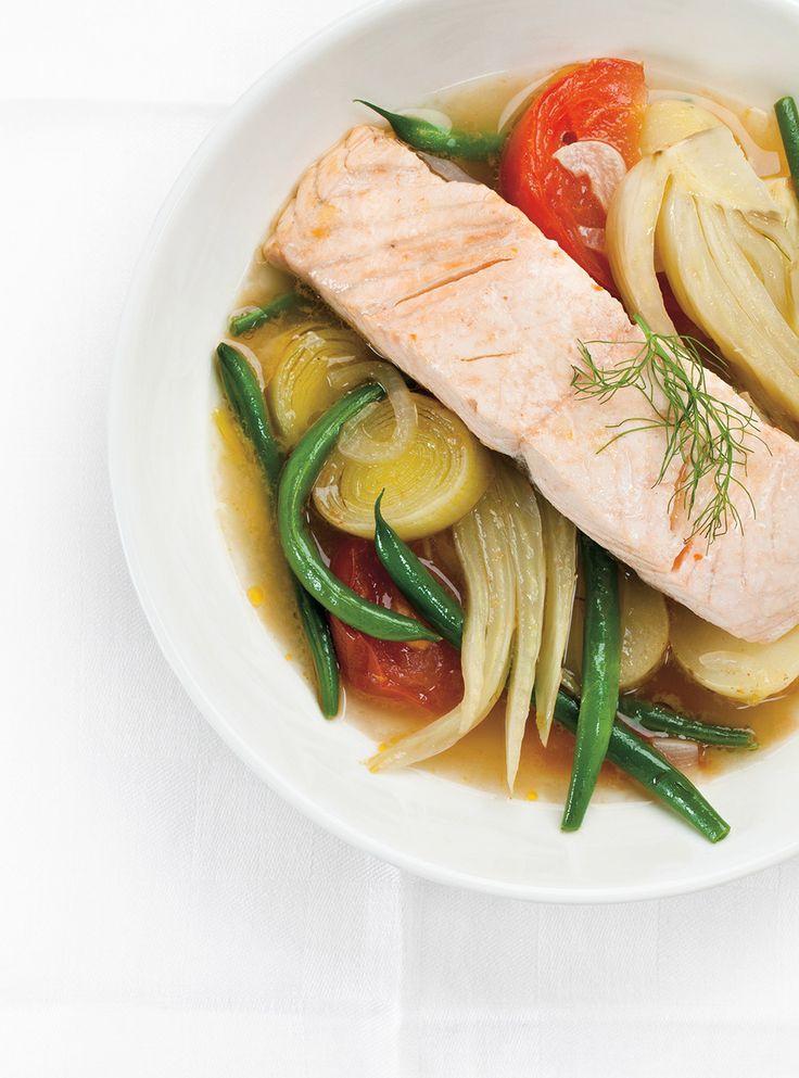Recette de Ricardo de Casserole de légumes et saumon vapeur