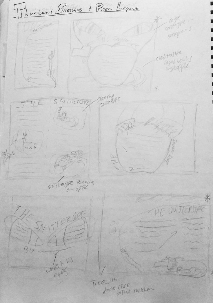 Thumbnail sketches for final design.