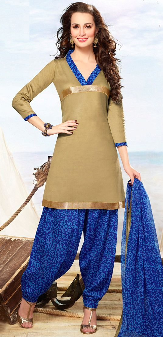 USD 20.13 Beige Cotton Patiala Salwar Kameez 43465
