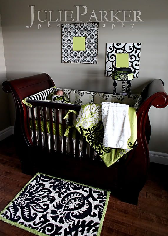 Baby Girl. Will look great with Babies Crib. Black, White & Lime green nursery. Love colors and patterns.
