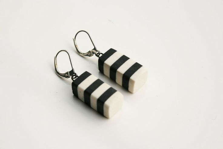 Striped, porcelainearrings, black from Marie Olofsson Productdesign by DaWanda.com