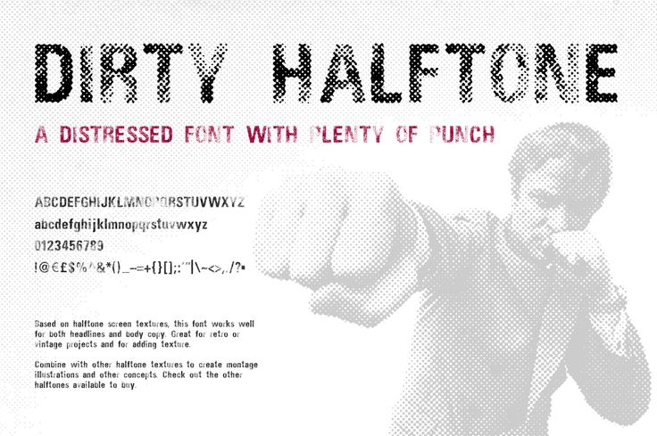 Dirty Halftone Font by Offset on @creativemarket #displayfont #distressedfont #fonts