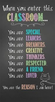 Character Education Banner - When you enter this classroom ...Decorate your classroom with this bright, colorful CHALK banner. This purchase includes one JPEG image which you can upload and print on a vinyl banner. Step-by-step instructions for uploading this image to Vistaprint.com are provided; however, it can also be printed at other places like Staples and Office Max.