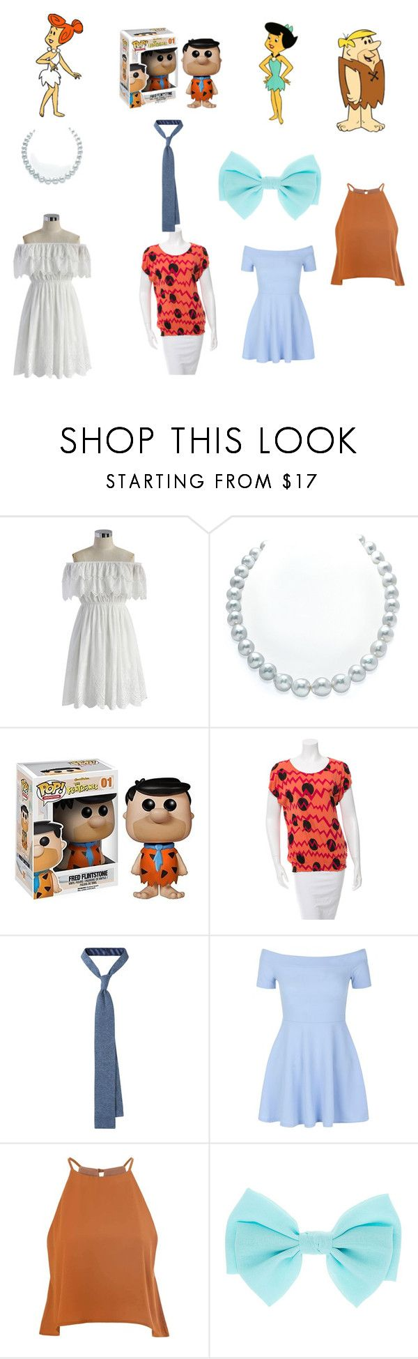 """the Flinstons and the Rubbles"" by kchest ❤ liked on Polyvore featuring beauty, Chicwish, Funko, Sonia by Sonia Rykiel, New Look and Glamorous"