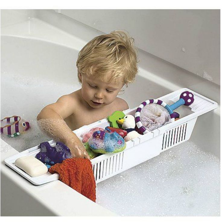 This is a plastic storage caddy with slats so that water drains out. It sits across the tub so that toys are easy for your child to reach. KidCo Bath Storage Basket. •Holds bath toys, soap, shampoo and more.