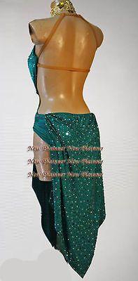Women Ballroom Samba Latin Cha Rumba Salsa Dance Dress US 10 UK 12 Gold Green