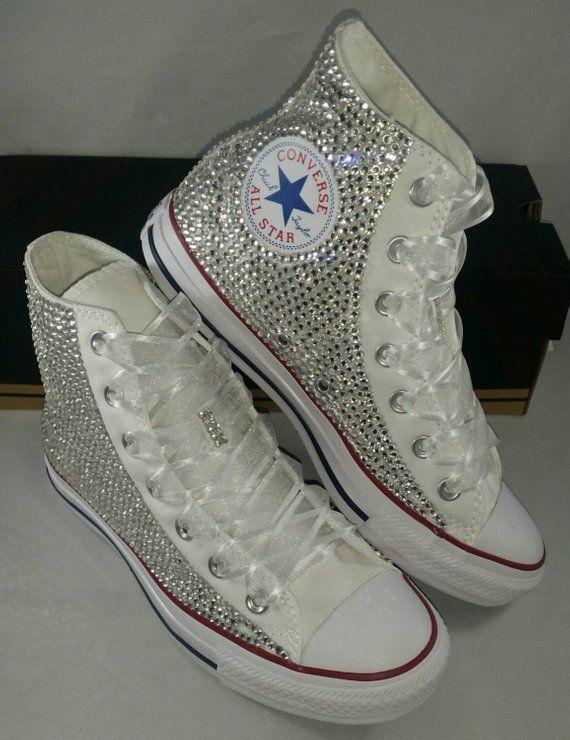 40d3e6392adb8e Full Bling Wedding Converse Bridal Sneakers Custom Converse
