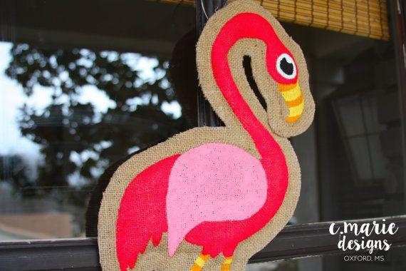 Flamingo Burlap Door Hanger by CMarieDesignsOxford on Etsy