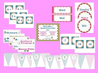 Classroom Set for Word Wall and Reading Focus Wall in pink, blue, and green-$