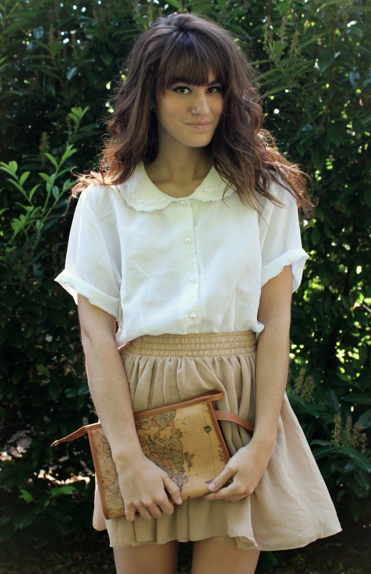 NEUTRALS! 'The Moptop' American Apparel Skirt and Vintage Top from etsy.com/shop/kookookachoovintage