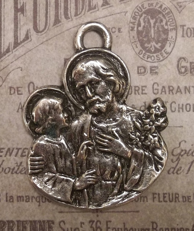 Extra Large Vintage Saint Joseph Catholic Medal Protector Of Fathers, Carpenters, Workers & Craftsmen With Flowering Lilies