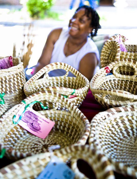 Historic Charleston City Market, Charleston, SC. Sweetwater baskets.  Watch them made!