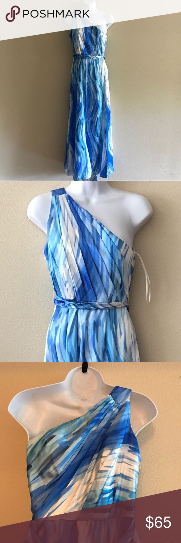 """One shoulder blue and white formal dress size 4 Length - 51""""   Pit to pit  - 16""""  Waist - 26""""     Unbranded unbranded Dresses One Shoulder"""