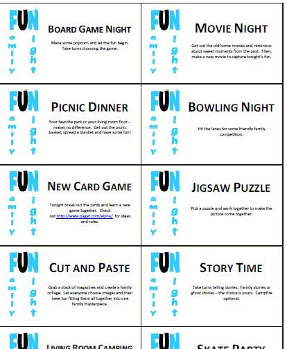 Need some ideas for Family Fun Night? Print these cards and let the kids pick one activity.
