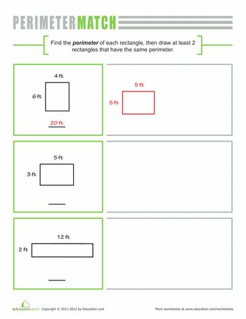 Printables Perimeter Of A Rectangle Worksheet 1000 ideas about perimeter of rectangle on pinterest worksheets a rectangle