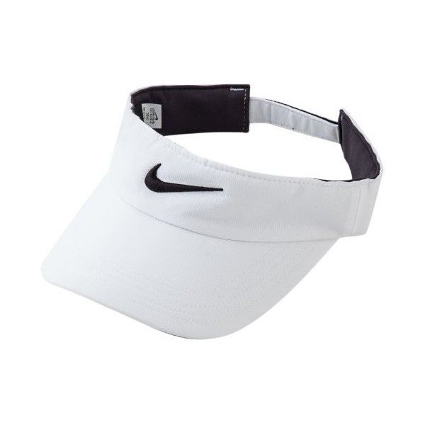 Nike Tech Swoosh Visor ❤ liked on Polyvore featuring accessories, hats, white hat, nike, sun visor hat, sun visor and visor hats