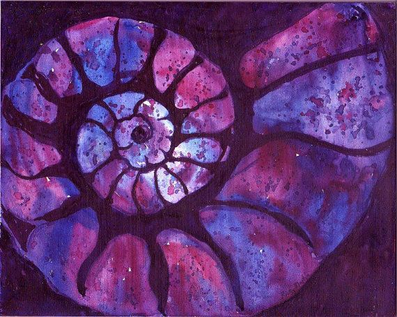 Watercolor shell painting on gessoed masonite art panel