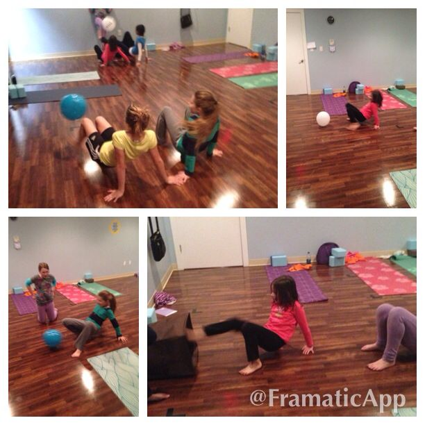 Crab walk soccer game with a balloon in kids yoga