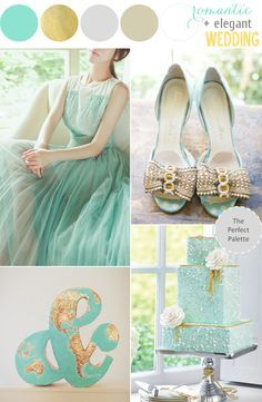 Mint Meets Glittery Gold. See more at - www.theperfectpalette.com - Creative Color Ideas for Weddings + Parties