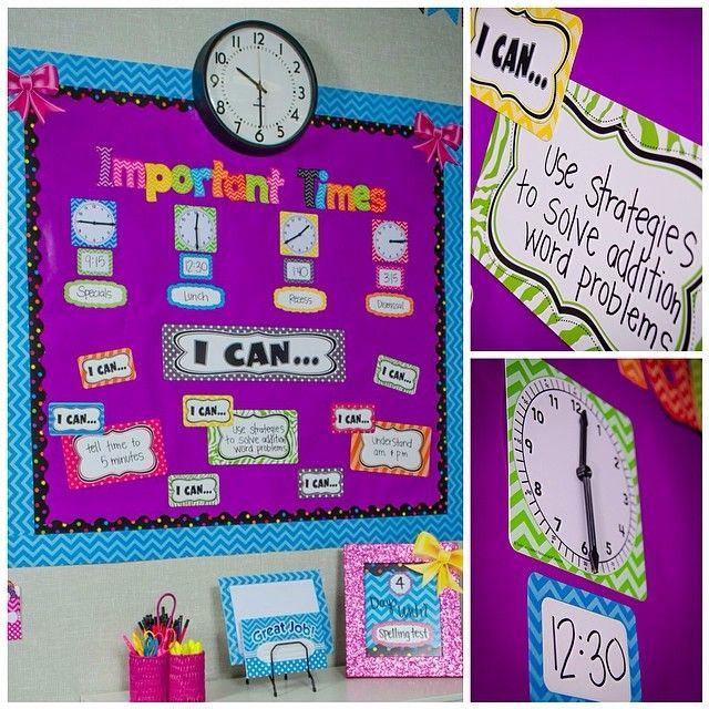 Teach students to tell time and keep them on schedule too! #timemanagement #bulletinboard #chevron #classroomdecor #classroomdecorations #chevronclassroom #teachersfollowteachers #backtoschool #tcr #teachercreatedresources