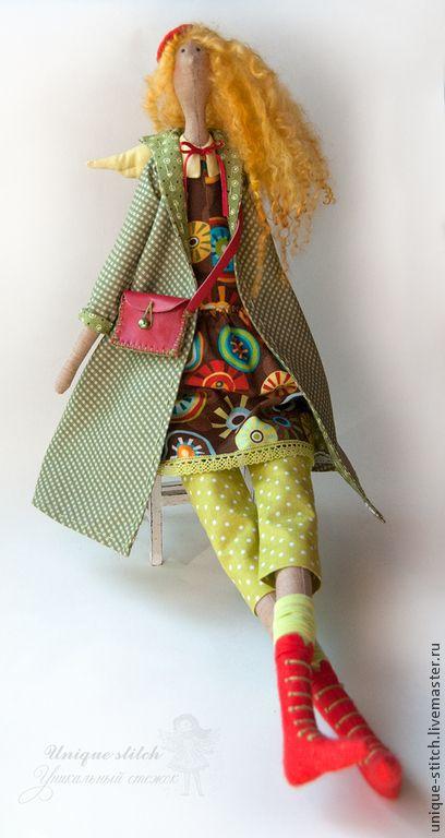 Купить Тильда Ангел Мари. Текстильная кукла - оливковый, коричневый, тильда ангел, тильда кукла